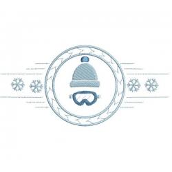 bonnet de ski dans cercle et flocons