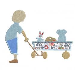 Enfant et son chariot en appliqué