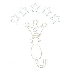 Petit chat aux étoiles broderie machine