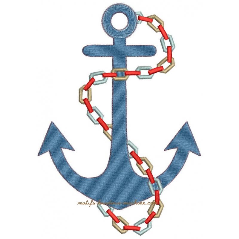 Motif broderie machine ancre bateau et cordage marin 3 tailles - Ancre de bateau dessin ...