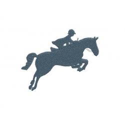Motif broderie machine : silhouette cavalier et saut d'obstacle