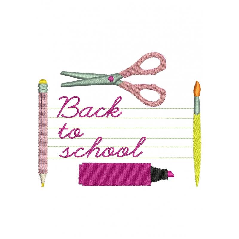 motif broderie machine tiquette scolaire ciseaux crayon compas. Black Bedroom Furniture Sets. Home Design Ideas