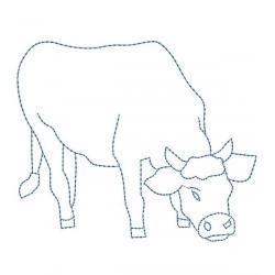motif broderie machine vache en redwork