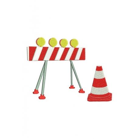 Barrière de  chantier et cône
