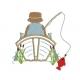 Motif de broderie machine pêcheur et barque appliqué