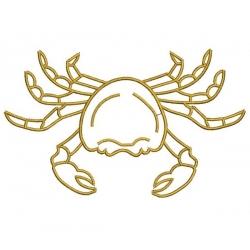 Crabe motif broderie machine en contour