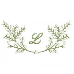 motif broderie machine initiales et branchages à broder à l'ancienne