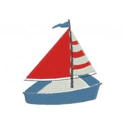Mini motif broderie machine petit voilier bateau