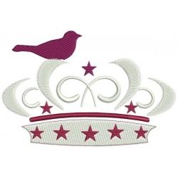 Motif broderie machine couronne avec un oiseau perché et ses étoiles