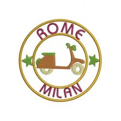Ecusson Milan et Rome et la Vespa