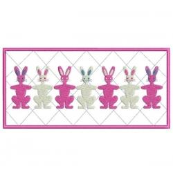 série de 7 lapins, cadre en appliqué
