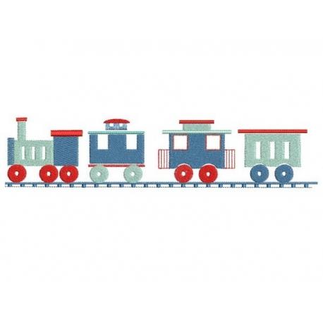 Petit train pour grand cadre motif broderie machine