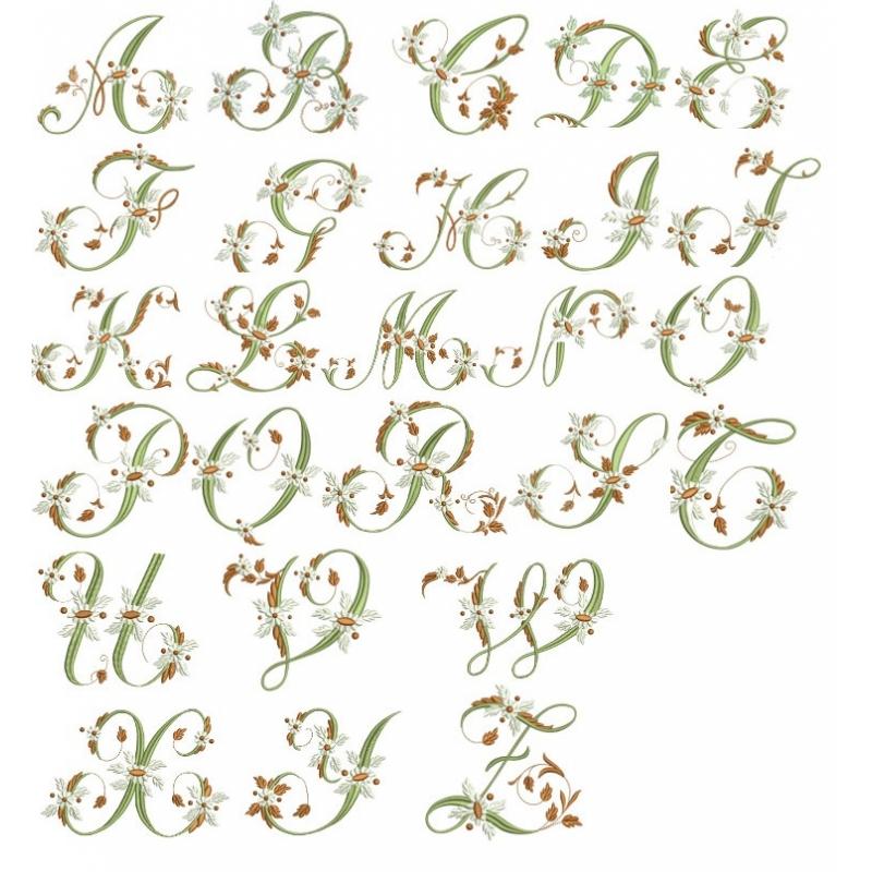 Motif Broderie Machine Alphabet Fleurs Font Embroidery Design