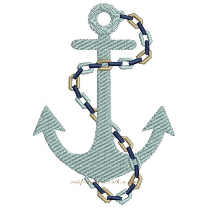 motif broderie machine ancre bateau et cordage marin 3 tailles. Black Bedroom Furniture Sets. Home Design Ideas
