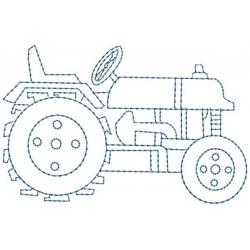 Motif broderie machine tracteur en redwork