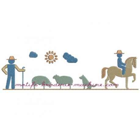 motif broderie machine fermier, moutons, cheval
