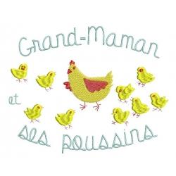 Motif broderie machine pour grand mère bonne Maman et ses petits-poussins