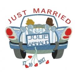Just Married voiture mariae motif broderie machine