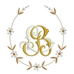 motif broderie machine couronne fleurie avec initiales