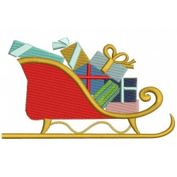 chariot père Noël motif de broderie machine
