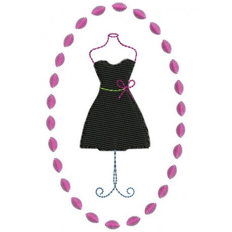 Motif broderie machine petite robe noire avec son noeud jaune