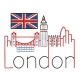 Skyline LONDON en redwork