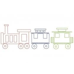 Petit train motif broderie machine en redwork