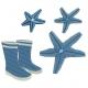 Etoiles de mer et paire de bottes motifs broderie machine