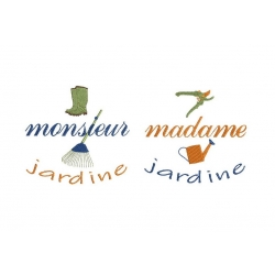 Monsieur Madame jardine motif broderie machine