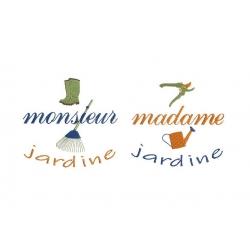 Monsieur Madame jardine motif broderie machine
