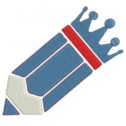 Crayon et sa gomme en forme de couronne motif broderie machine