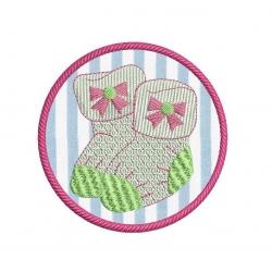 motif broderie machine chaussons tricot appliqué