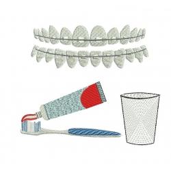 motif broderie machine brosse à dents, appareil dentaire et verre à dents