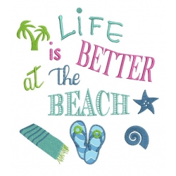 Life is better at the beach motif broderie machine