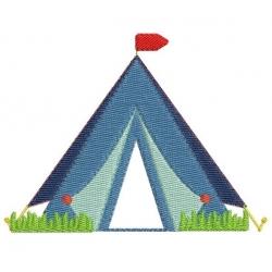 Tente camping motif broderie machine