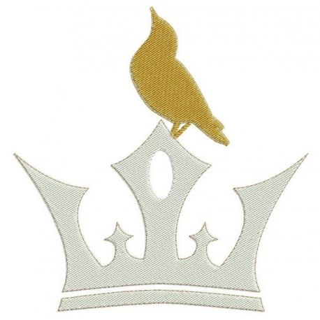 motif broderie machine d'une couronne avec un oiseau en jaune