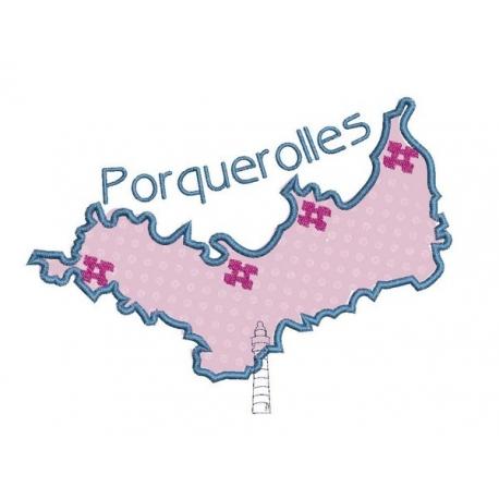 motif broderie machine carte de l'île de Porquerolles