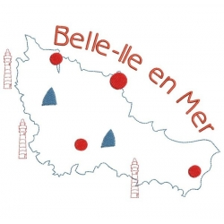 motif broderie machine carte de Belle-île en Mer