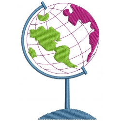 Globe Terrestre motif broderie machine