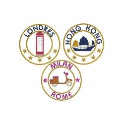 3 Appliqués villes Londres Rome et Hong Kong