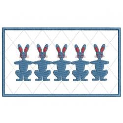 série lapins motif broderie machine redwork et appliqué