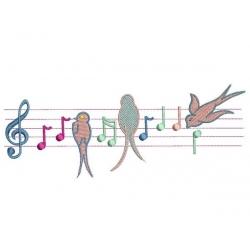 Notes de musique et hirondelles pour grand cadre