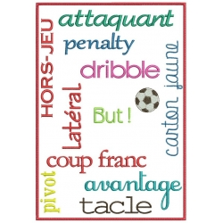 Vocabulaire et termes de foot spécial grand cadre broderie machine