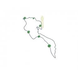 Carte  d e l'île de Noirmoutier motif broderie machine