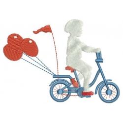 Motif broderie machine : petit garçon en vélo et ses ballons