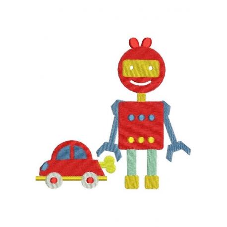 Robot et voiture motif broderie machine