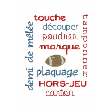 vocabulaire et termes de rugby cadre 18x30 broderie machine