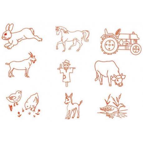 9 Motifs de broderie machine sur le thème de la ferme